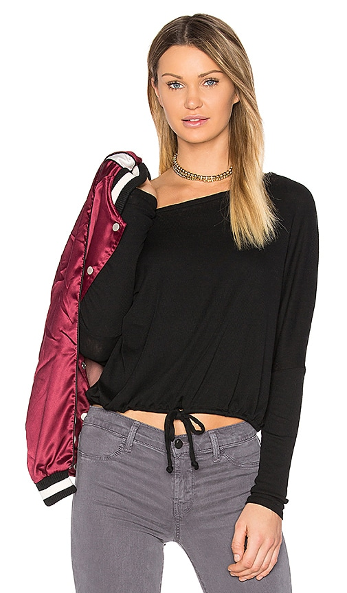 Chaser Oversized Drawstring Ribbed Tee in Black