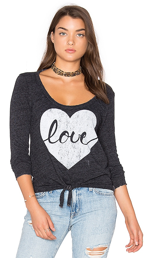 Chaser Heart Love Tee in Charcoal