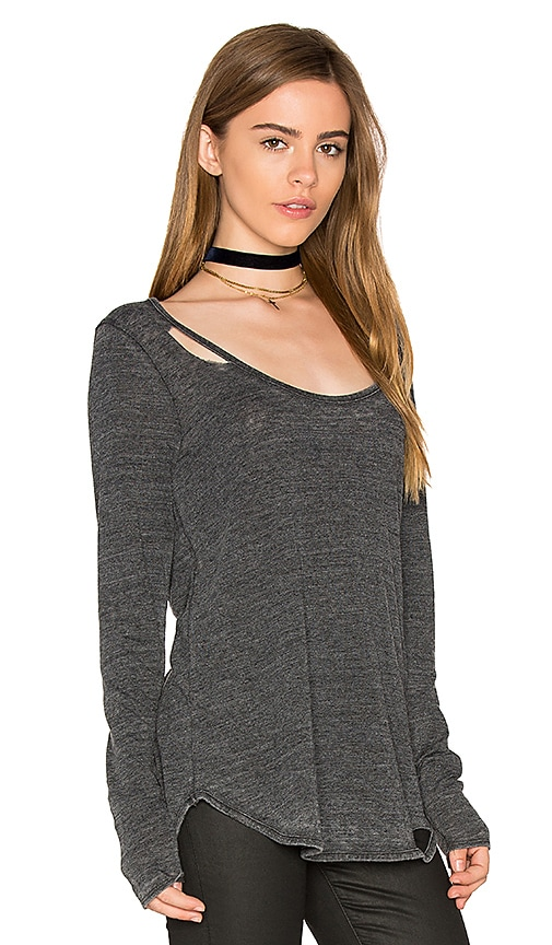 Chaser Open Back Deconstructed Shirttail Tee in Charcoal