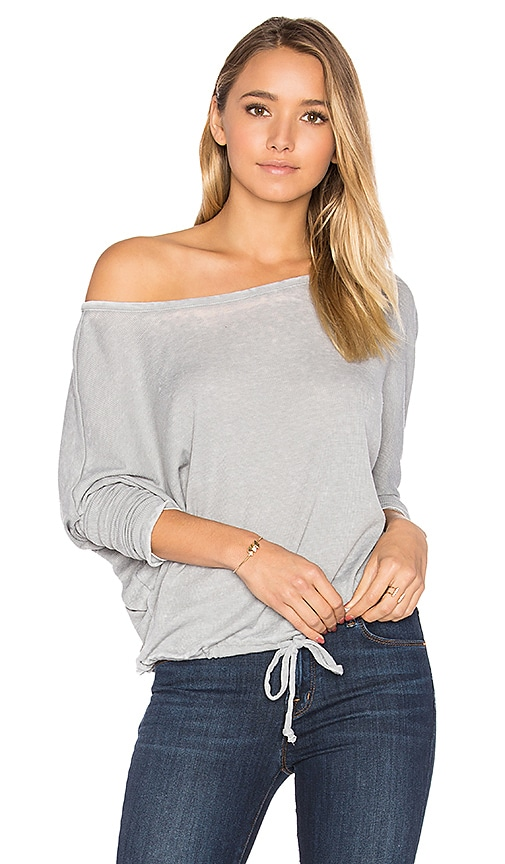 Oversized Open Neck Drawstring Tee