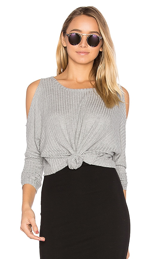 Chaser Cold Shoulder Dolman Thermal Tee in Gray