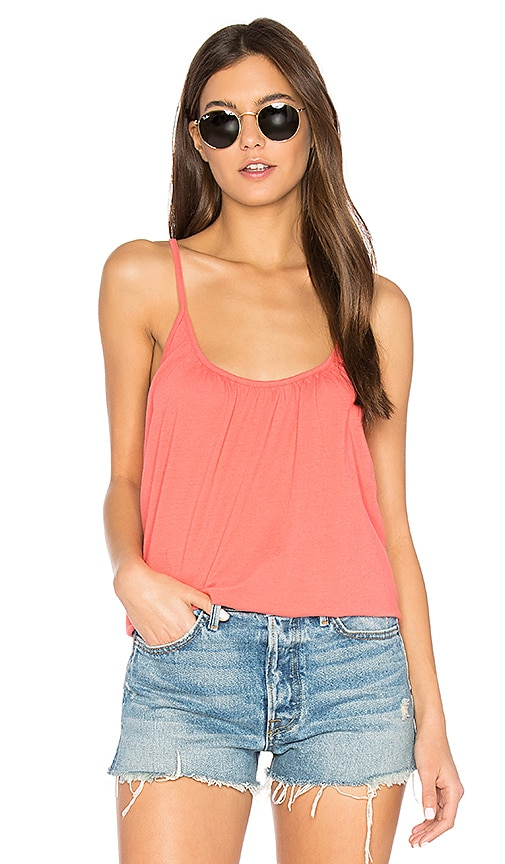 Chaser Cross Back Shirred Cami in Coral