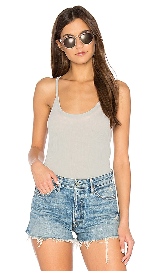 Chaser Rib T-Back Cami in Gray