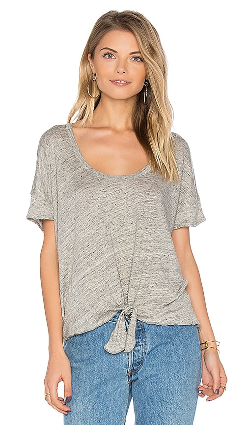 Chaser Tie Front Tee in Gray