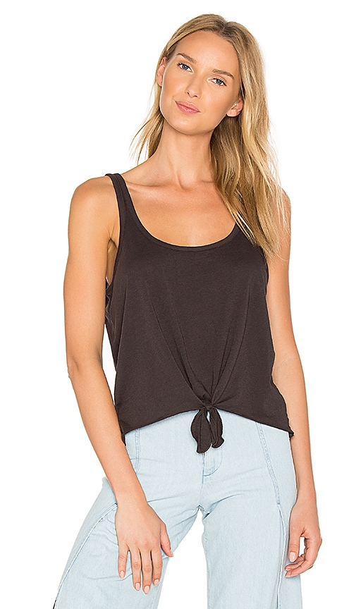 Chaser Vintage Jersey Tie Front Tank in Black
