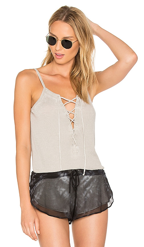 Chaser Lace Up Cami in Gray