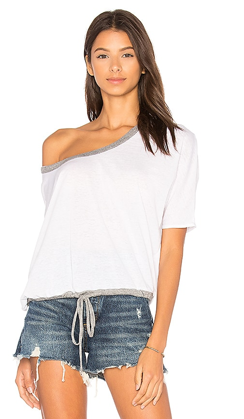 Chaser Drawstring Dolman Tee in White
