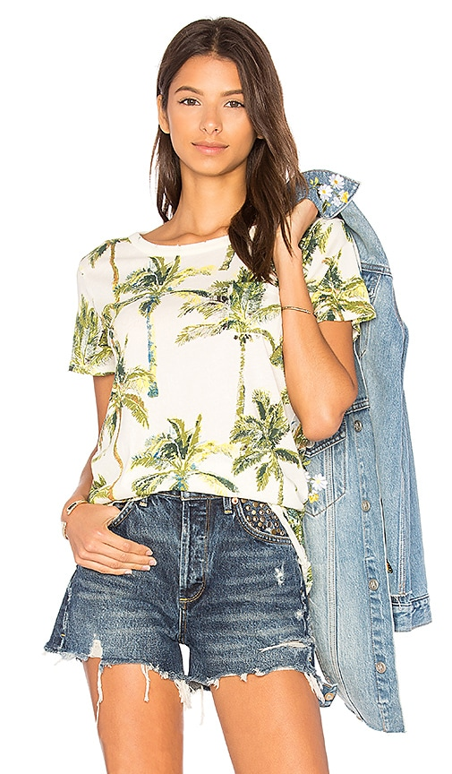 Chaser Vacation Palm Trees Tee in Ivory