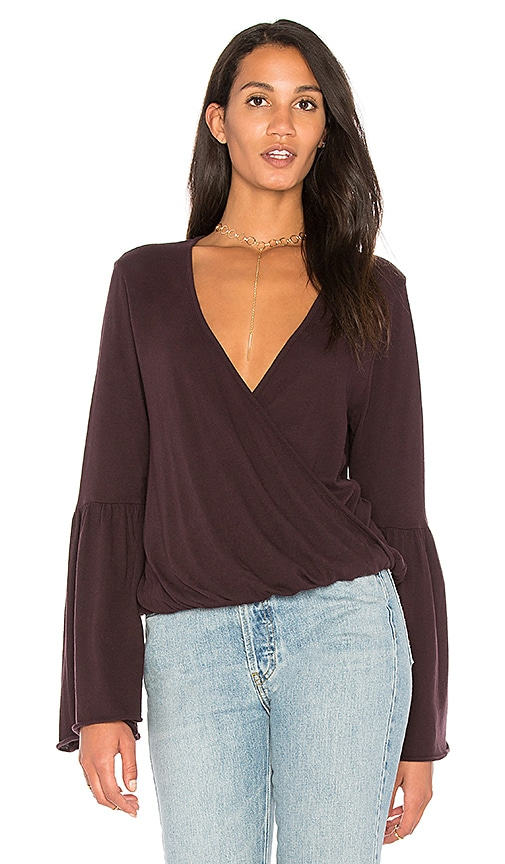 Chaser Cotton Jersey Surplice Top in Purple