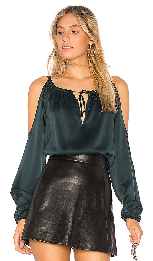 Chaser Silk Cold Shoulder Top in Green