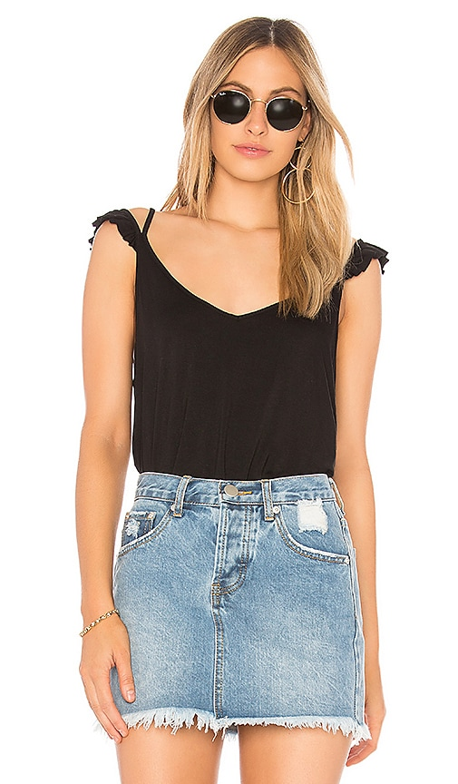 Chaser Cool Jersey Ruffle Strap Cami in Black