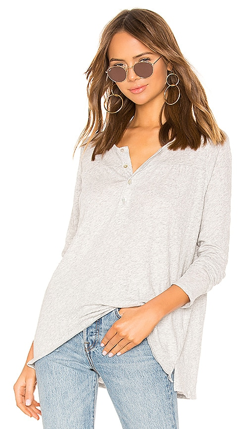 Long Sleeve Shirred Yoke Flouncy Henley