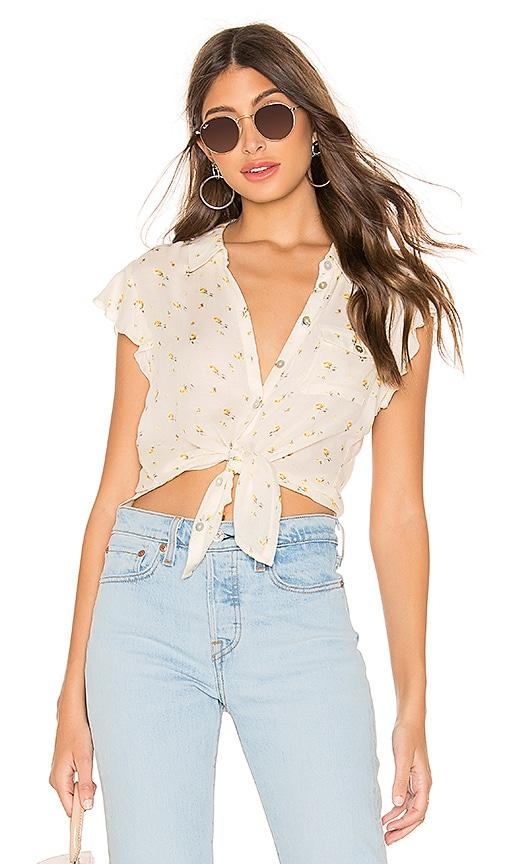 Flutter Sleeve Button Down Shirttail Blouse