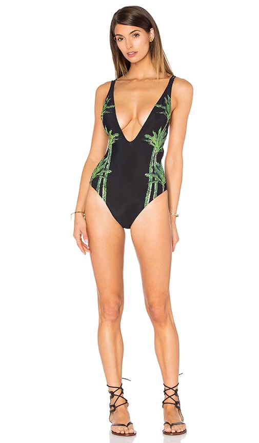 Chaser Palm Trees One Piece in Black