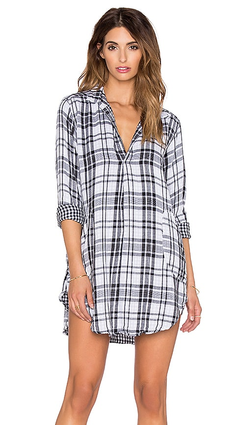 CP SHADES Teton Tunic Dress in Black & White Plaid