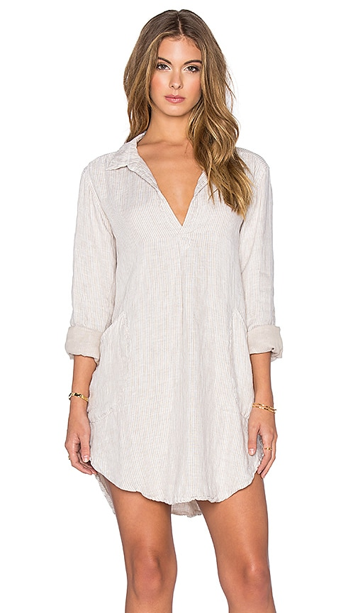 CP SHADES Teton Stripe Tunic Dress in Tan Stripe Wash