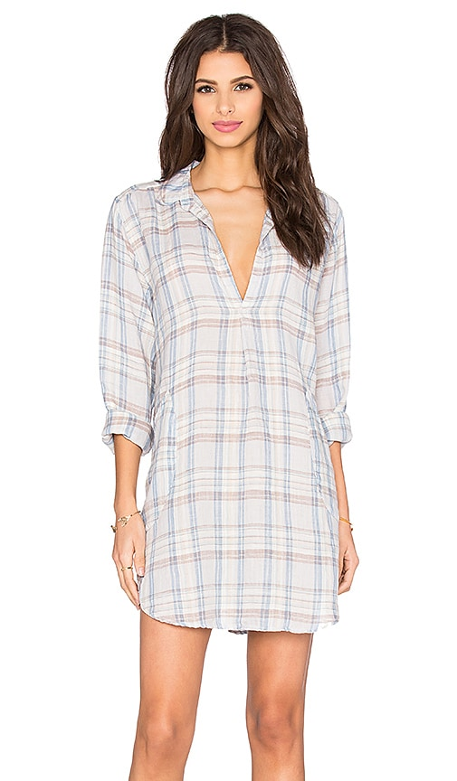 CP SHADES Teton Plaid Tunic Dress in Blue & Nut