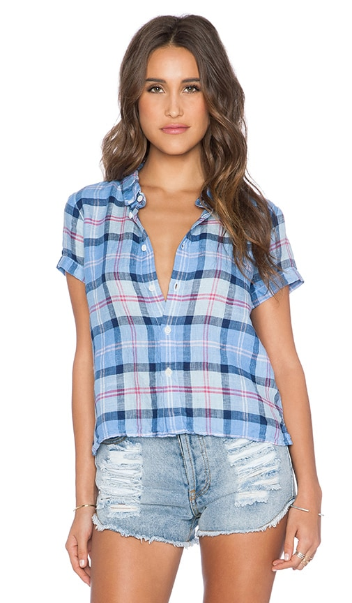 CP SHADES Mia Plaid Button Up Top in Surf Multi Stripe