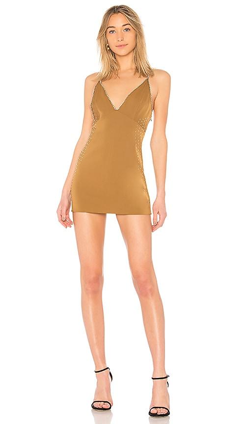 Chrissy Teigen x REVOLVE Elvira Slip Dress in Metallic Gold