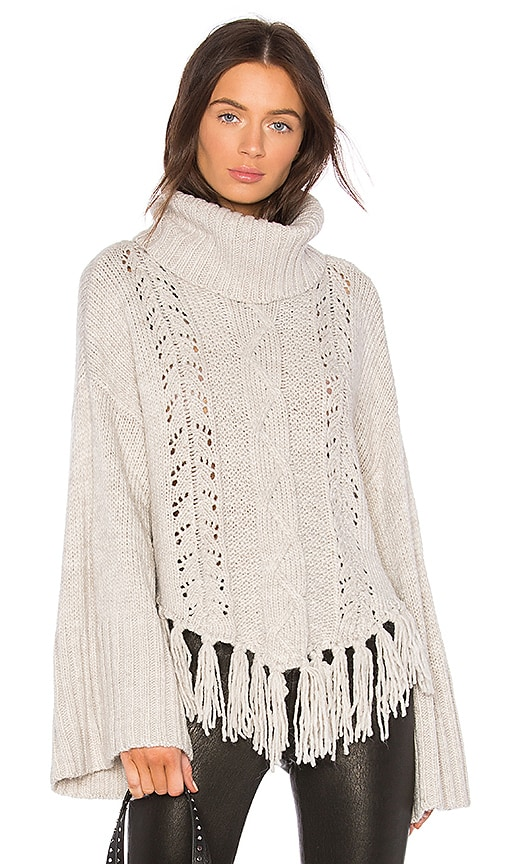 cupcakes and cashmere Prilla Fringe Sweater in Gray