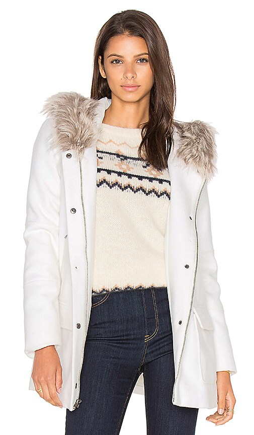 cupcakes and cashmere Standford Faux Fur Jacket in White