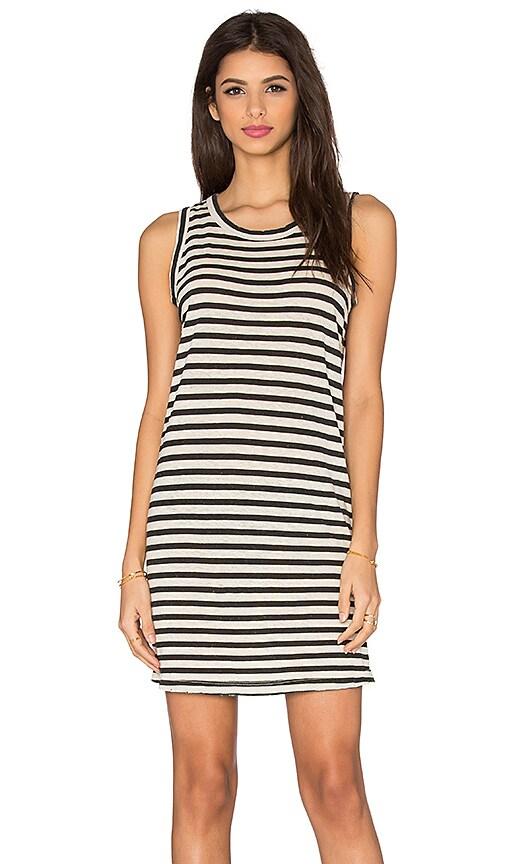 Current/Elliott The Muscle Tee Dress in Cream & Black Distressed Stripe