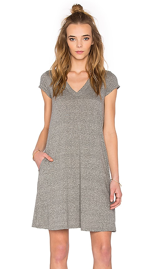 Current/Elliott The V Neck Trapeze Dress in Heather Grey