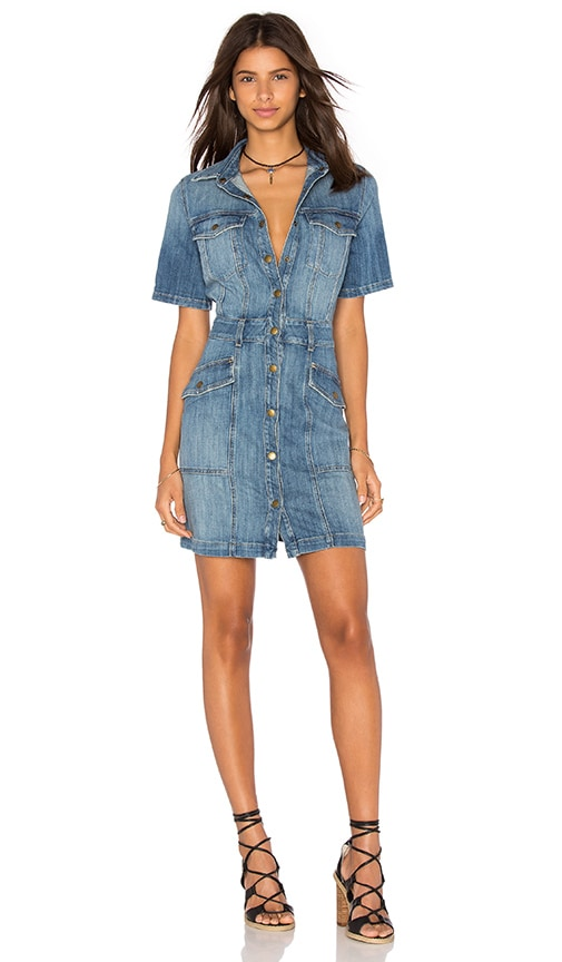 Current/Elliott The Trucker Shirt Dress in Blue