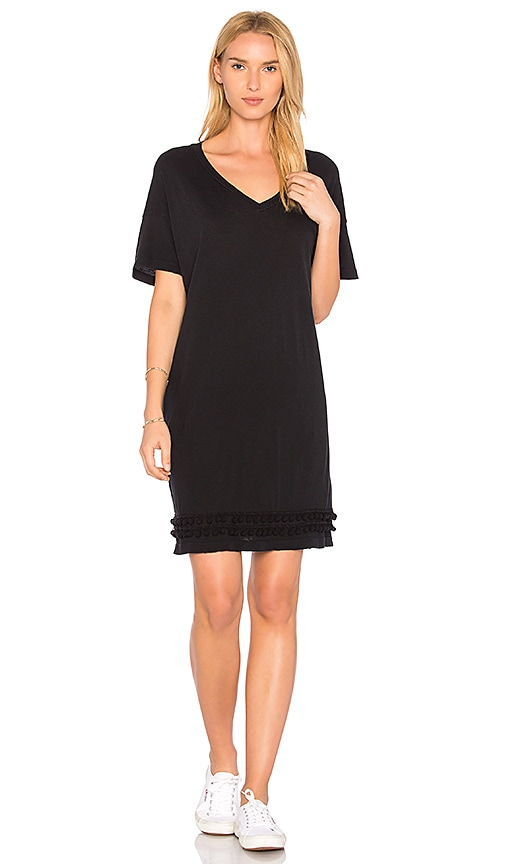 Current/Elliott The Pom Pom Tee Dress in Black