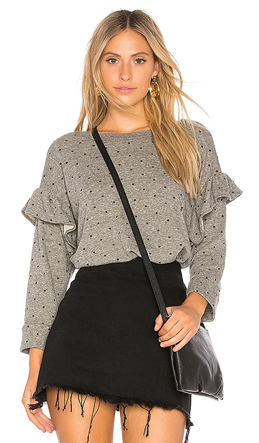 Current/Elliott The Ruffle Sweatshirt with Mini Polka Stars in Gray