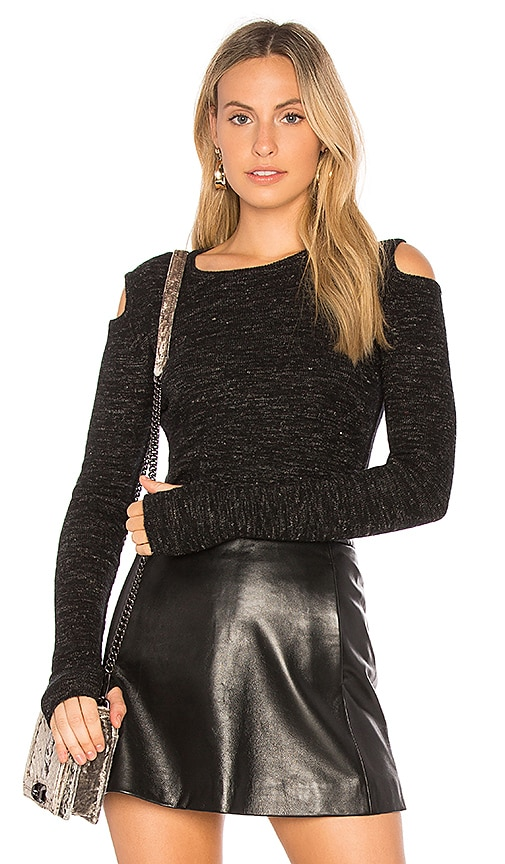 Current/Elliott The Melange Cut Out Sweater in Black