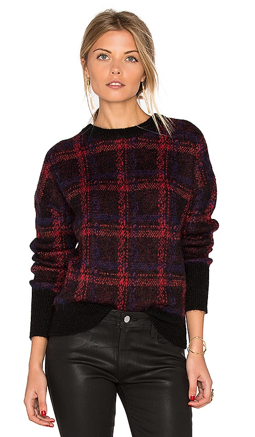 Current/Elliott The Plaid Crew Neck Sweater in Black