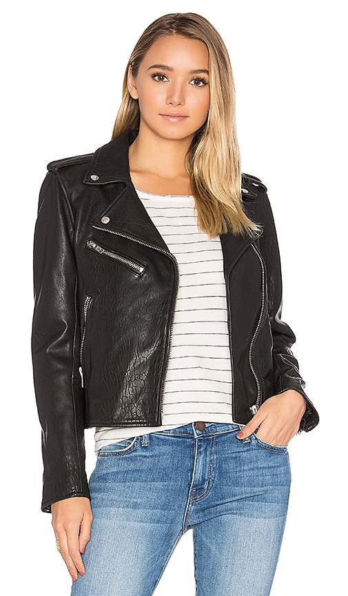 Current/Elliott The Roadside Leather Jacket in Black