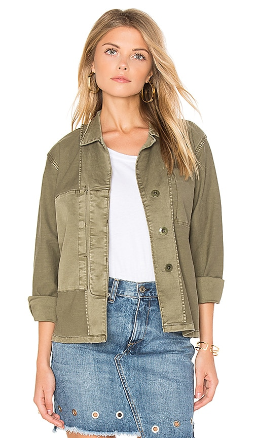 Current/Elliott The Reversed Military Shirt Jacket in Green