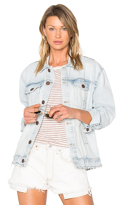 Current/Elliott The Boyfriend Trucker Jacket in Blue