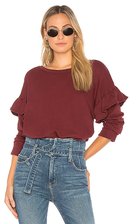 Current/Elliott The Ruffle Sweatshirt in Wine