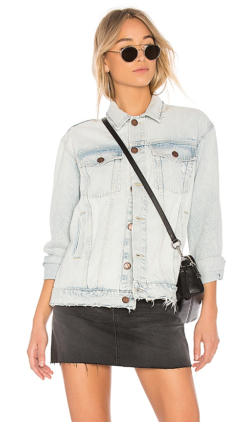 Current/Elliott The Boyfriend Trucker Jacket in Embellished Mulholland Destroy