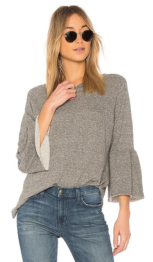 Current/Elliott The Ruffle Sleeve Sweatshirt in Gray