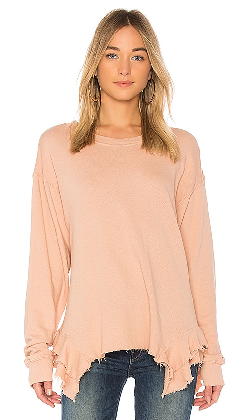 Current/Elliott The Slouchy Ruffle Sweatshirt in Rose