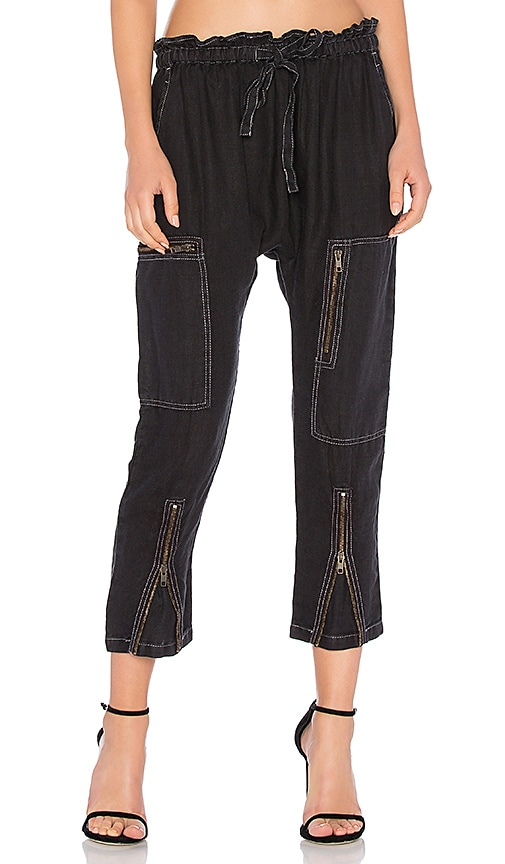 Current/Elliott The Aviation Zip Pant in Black