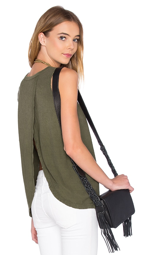 Current/Elliott The Cross Back Muscle Tank in Army Green