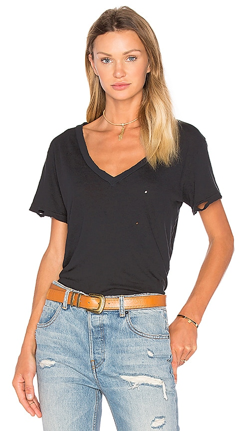 Current/Elliott The V Neck Distressed Tee in Black