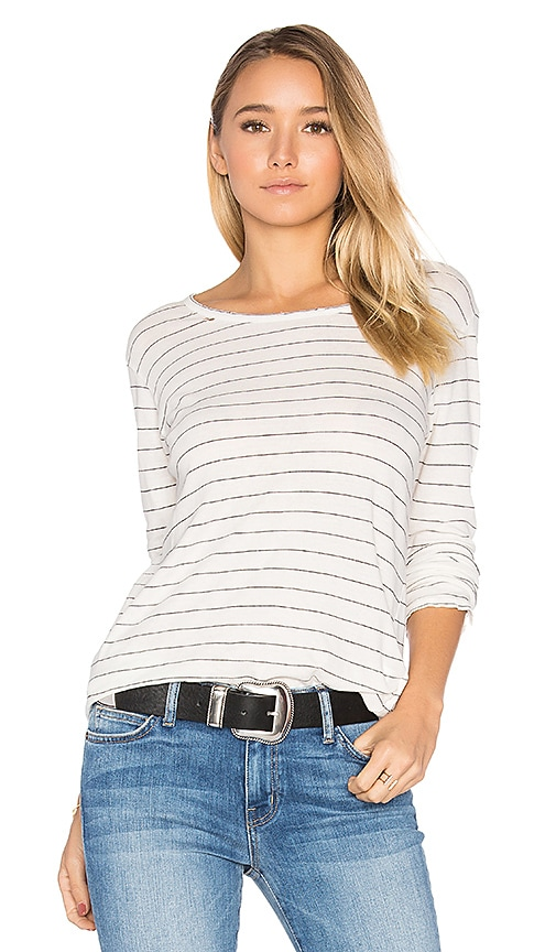 Current/Elliott The Long Sleeve Boyfriend Tee in White