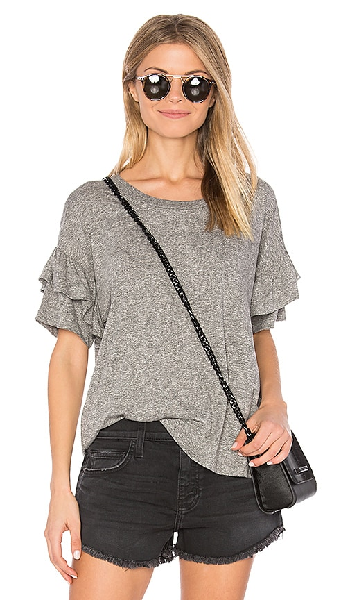 Current/Elliott The Ruffle Roadie Top in Gray