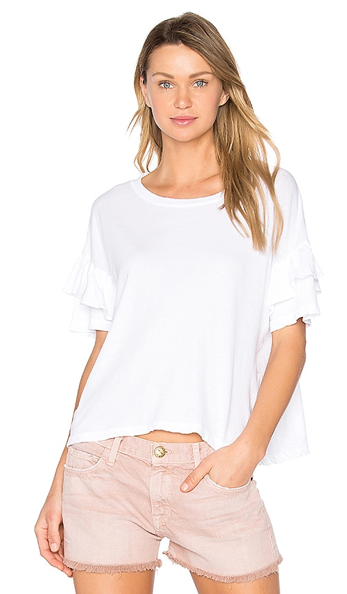 Current/Elliott The Ruffle Roadie Tee in White