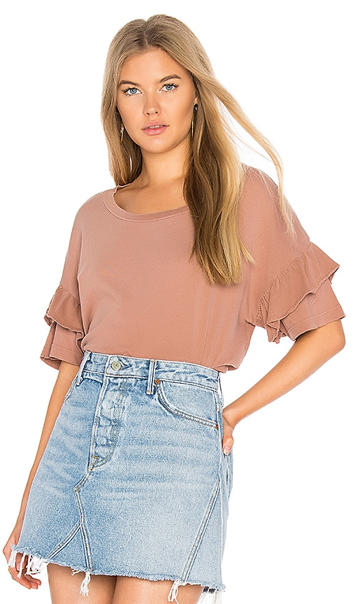 Current/Elliott The Ruffle Roadie Tee in Blush