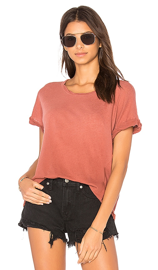 Current/Elliott The Rolled Crew Tee in Rose