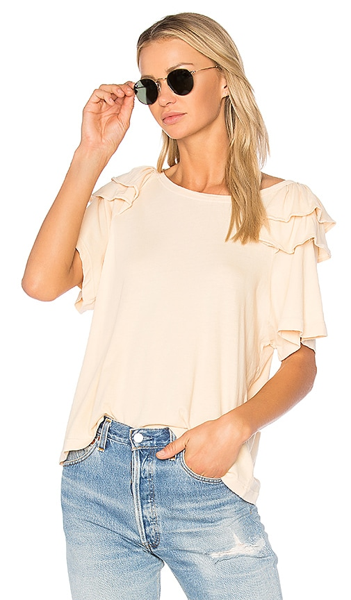 Current/Elliott The Double Ruffle Tee in Beige