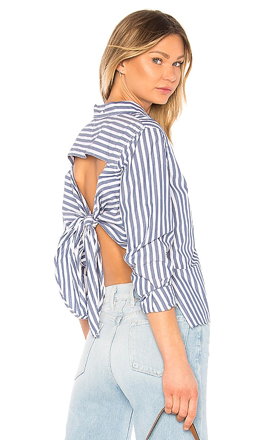 Current/Elliott The Des Stripe Shirt in Slate