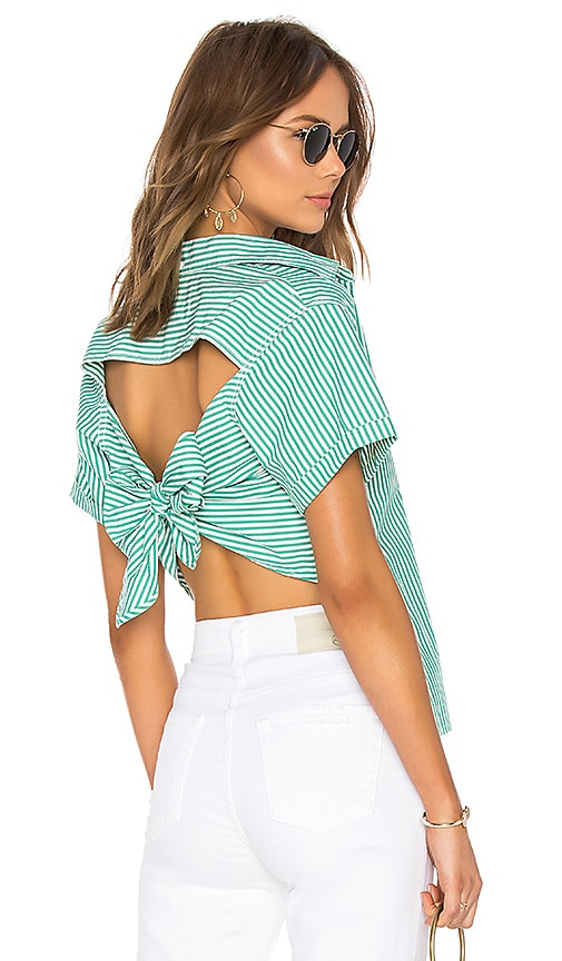 Current/Elliott The Tie Back Telly Top in Green